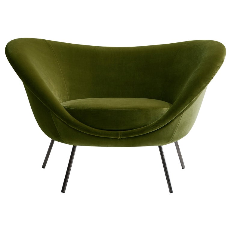 For Sale: Green (W6242_Green) Molteni&C D.154.2 Armchair in Velvet by Gio Ponti