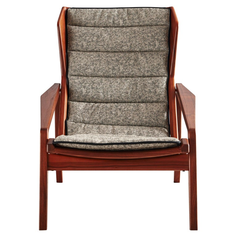 Molteni&C D.156.3 Armchair in American Walnut Frame & Green Canvas by Gio Ponti For Sale