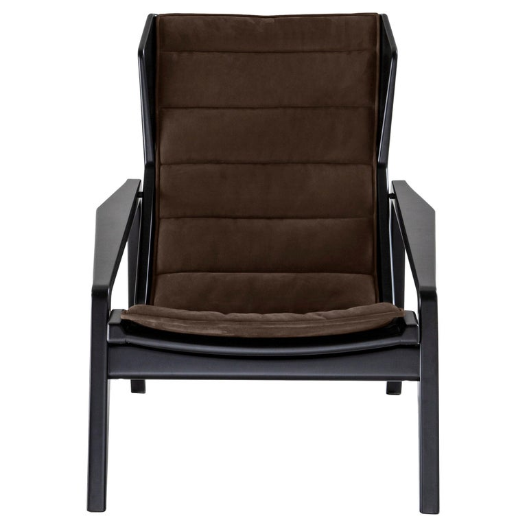 Modern Molteni&C D.156.3 Armchair in American Walnut Frame & Taupe Leather by Gio Ponti For Sale