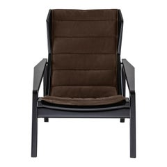 Molteni&C D.156.3 Armchair in American Walnut Frame & Taupe Leather by Gio Ponti