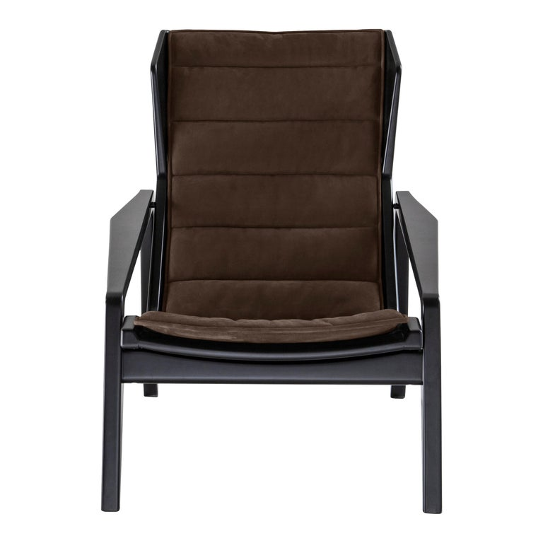 Molteni&C D.156.3 Armchair in American Walnut Frame & Taupe Leather by Gio Ponti For Sale
