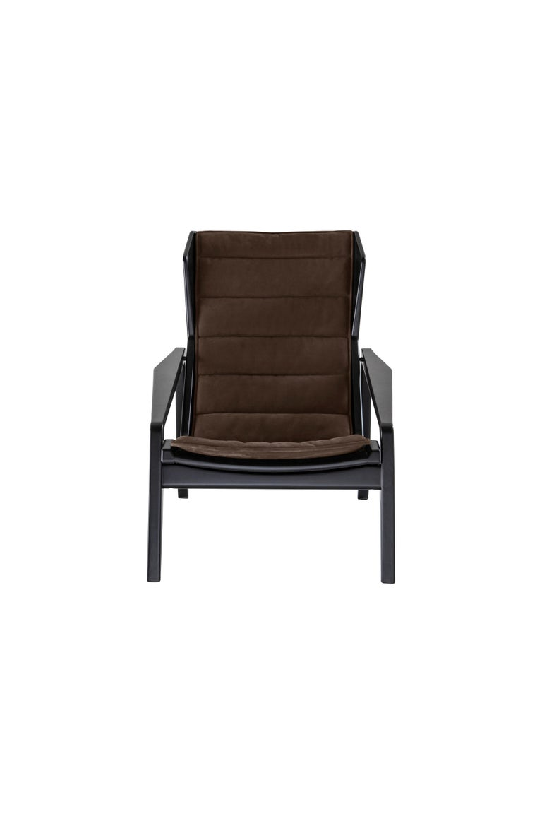 Modern Molteni&C D.156.3 Armchair in American Walnut Structure and Leather by Gio Ponti For Sale