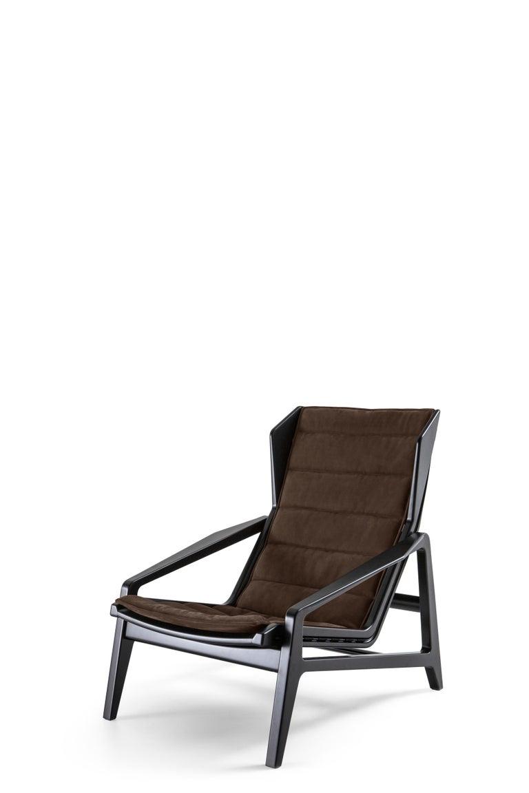 Italian Molteni&C D.156.3 Armchair in American Walnut Structure and Leather by Gio Ponti For Sale