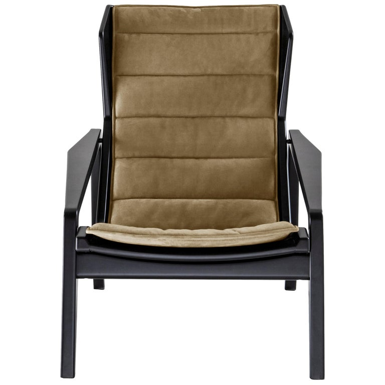 For Sale: Brown (WE751_Yellow) Molteni&C D.156.3 Armchair in Glossy Black Lacquered Wood and Canvas, Gio Ponti