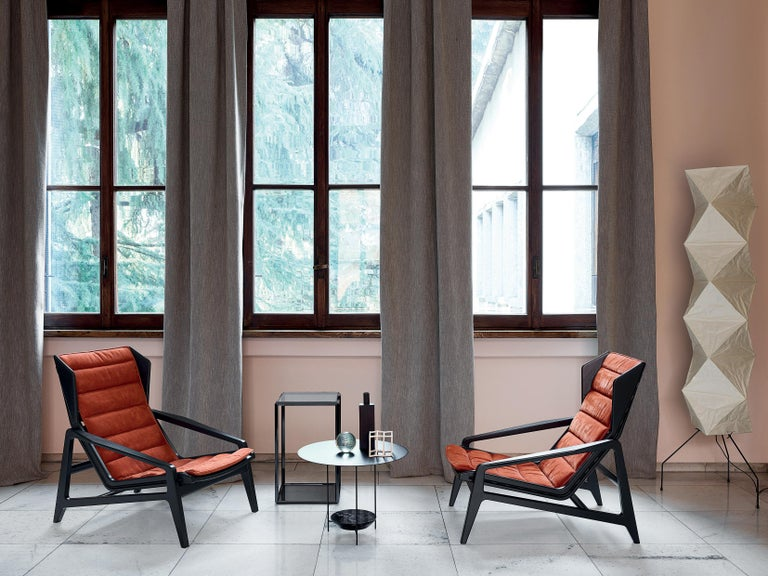 Molteni&C D.156.3 Armchair in Glossy Black Laquered Wood & Leather by Gio Ponti For Sale 5