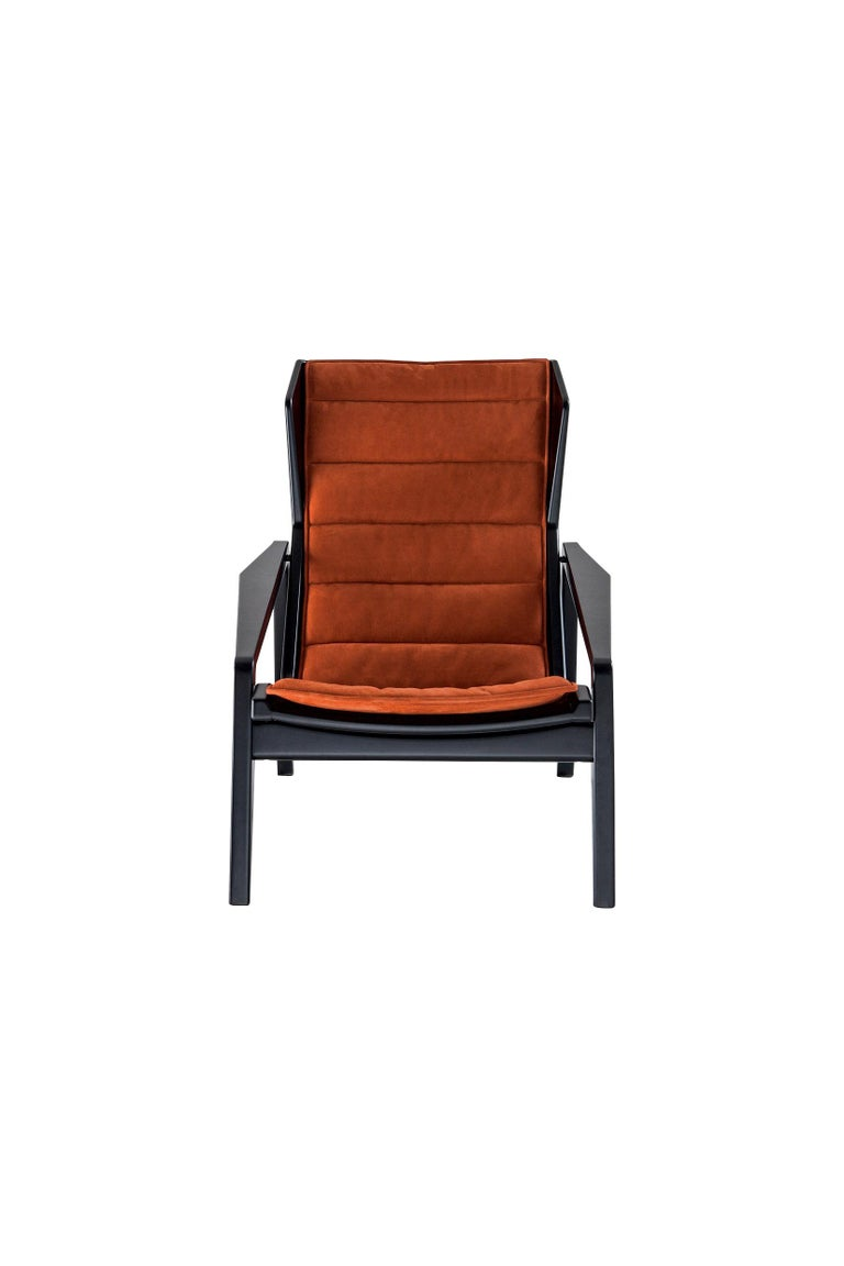 Hand-Crafted Molteni&C D.156.3 Armchair in Glossy Black Laquered Wood & Leather by Gio Ponti For Sale