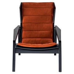 Molteni&C D.156.3 Armchair in Glossy Black Laquered Wood & Leather by Gio Ponti