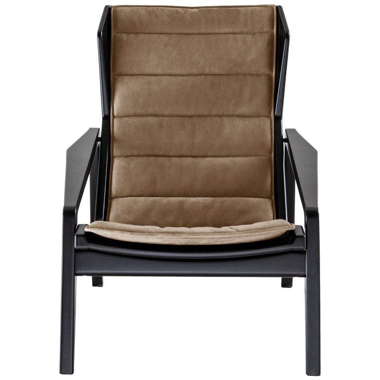 For Sale: Gray (WD131_Grey) Molteni&C D.156.3 Armchair in Glossy Black Lacquered Wood and Linen by Gio Ponti