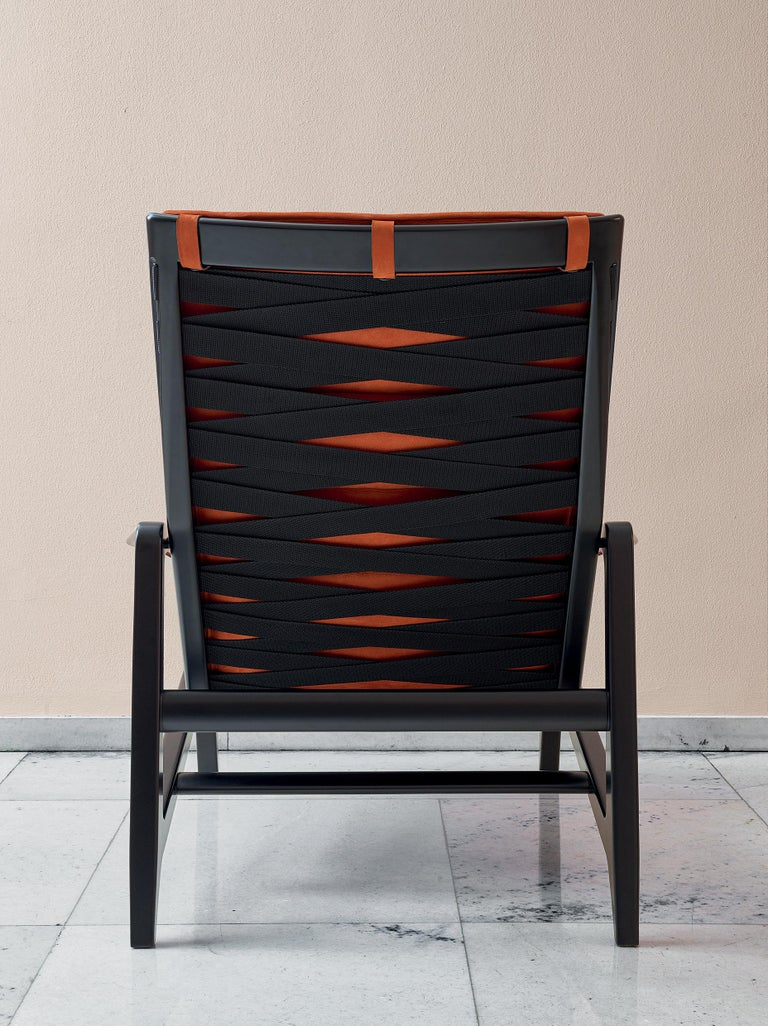 Italian Molteni&C D.156.3 Armchair in Glossy Black Lacquered Wood & Velvet by Gio Ponti For Sale