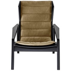 Molteni&C D.156.3 Armchair in Glossy Black Wood and Yellow Canvas, Gio Ponti