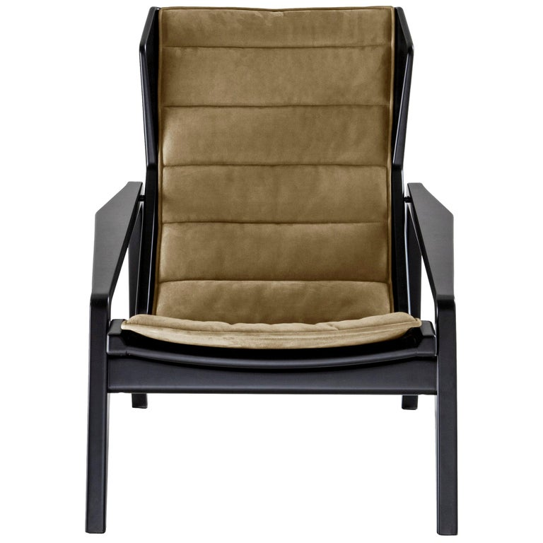Molteni&C D.156.3 Armchair in Glossy Black Wood and Yellow Canvas, Gio Ponti For Sale