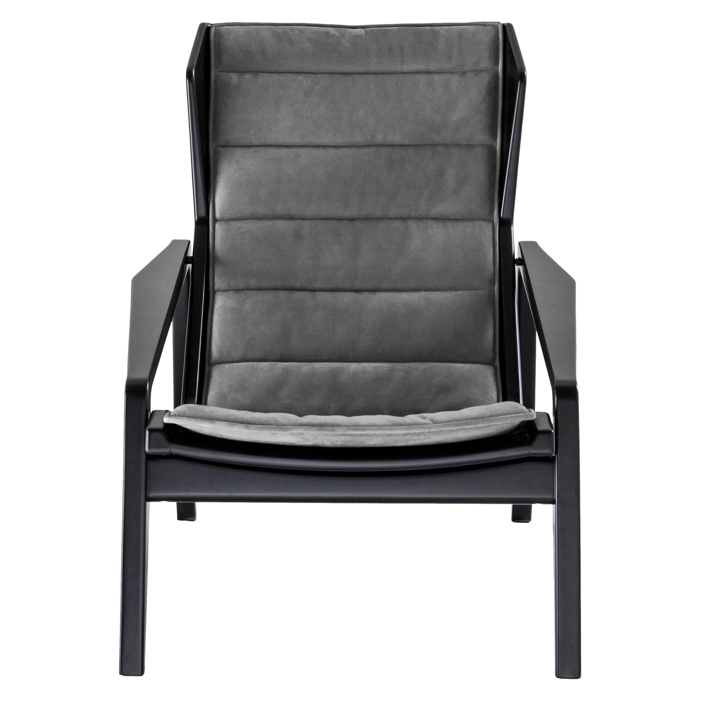 Molteni&C D.156.3 Armchair in Glossy Black Wood & Anthracite Chenille, Gio Ponti