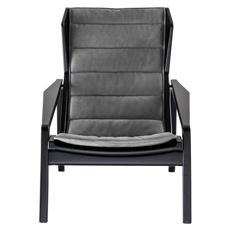 Molteni&C D.156.3 Armchair in Glossy Black Wood & Anthracite Chenille, Gio Ponti For Sale
