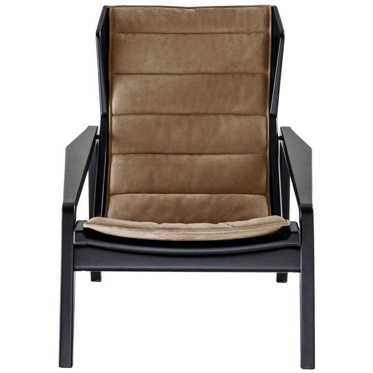 Molteni&C D.156.3 Armchair in Glossy Black Wood & Grey Linen by Gio Ponti For Sale