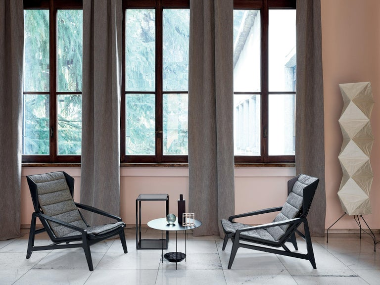 Molteni&C D.156.3 Armchair in Glossy Black Wood & Rust Leather by Gio Ponti For Sale 3