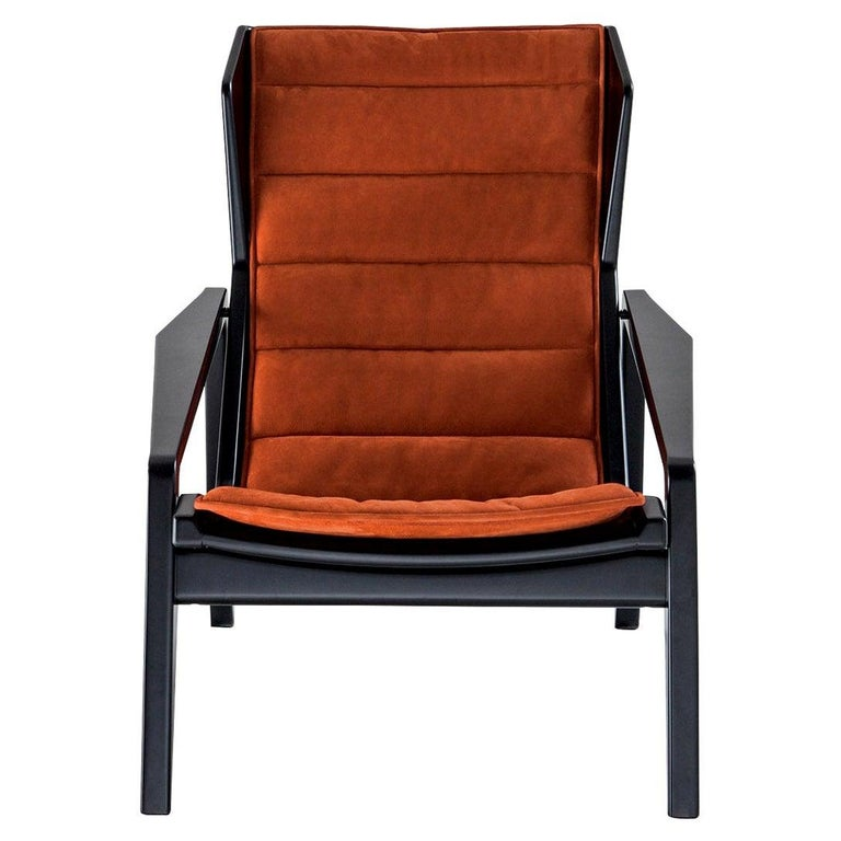 Hand-Crafted Molteni&C D.156.3 Armchair in Glossy Black Wood & Rust Leather by Gio Ponti For Sale