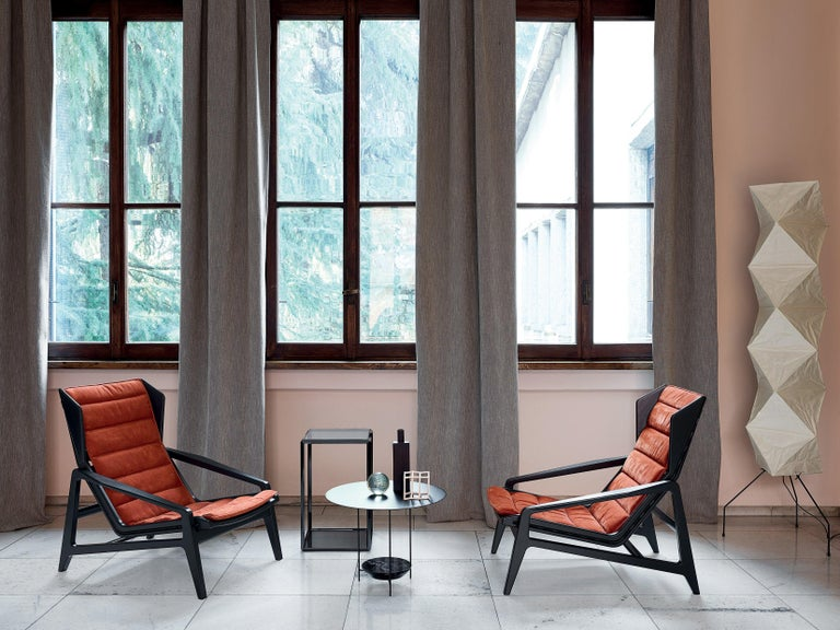 Molteni&C D.156.3 Armchair in Glossy Black Wood & Rust Leather by Gio Ponti For Sale 2