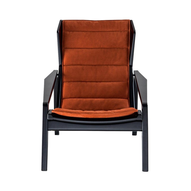 Molteni&C D.156.3 Armchair in Glossy Black Wood & Rust Leather by Gio Ponti For Sale