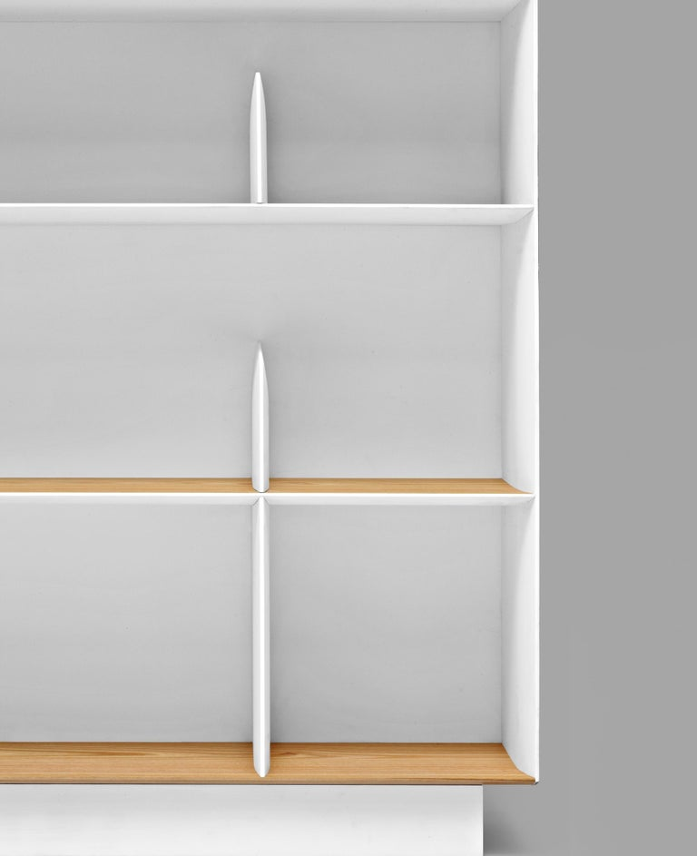 Part of the Moleni&C Heritage Collection the D.357.2 suspended bookcase by Gio Ponti is a remake of part of the furniture of Gio Ponti's private house ni Via Dezza in Milan. This re-edition is produced based on the original drawings from the Gio