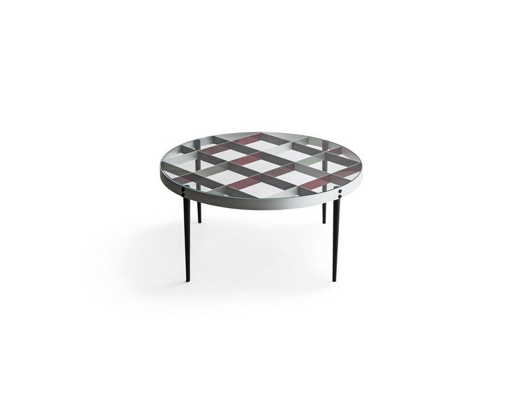Modern Molteni&C D.555.1 Small Coffee Table in Steel and Tempered Glass by Gio Ponti For Sale