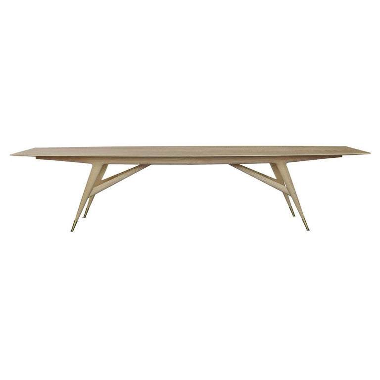 Molteni&C D.859.1A Dining or Conference Table in Natural Ash Wood by Gio Ponti For Sale