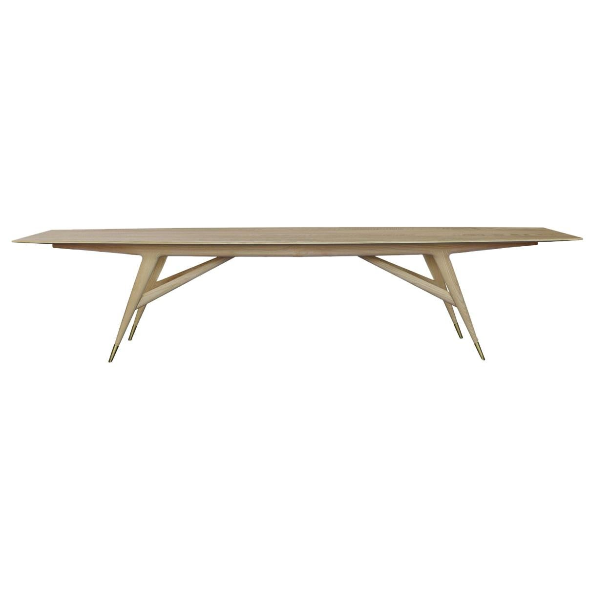 """Molteni&C D.859.1B Dining or Conference 126"""" Table in Ash Wood by Gio Ponti"""