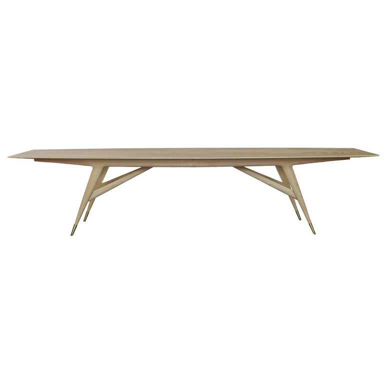 """For Sale: Beige (Natural Ash Wood) Molteni&C D.859.1B Dining or Conference 126"""" Table in Ash Wood by Gio Ponti"""