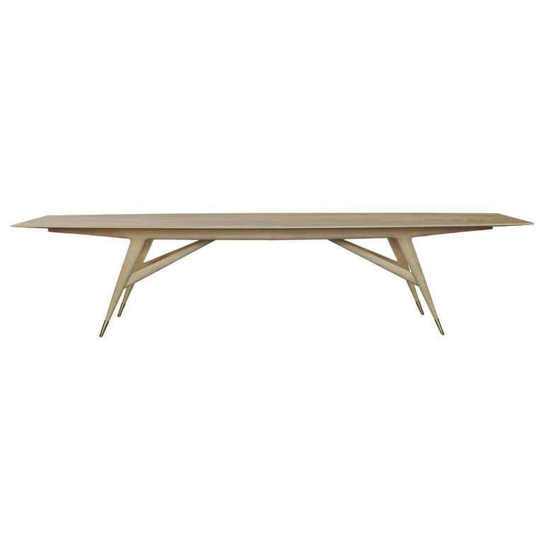 """For Sale: Beige (Natural Ash Wood) Molteni&C D.859.1C Dining or Conference Table 142"""" in Ash Wood by Gio Ponti"""