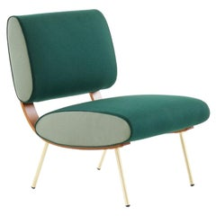 Molteni&C Gio Ponti Round D.154.5 Chair in Green and Brass Fees