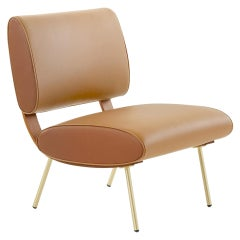 Molteni&C Gio Ponti Round D.154.5B Chair in Leather Extra and Brass