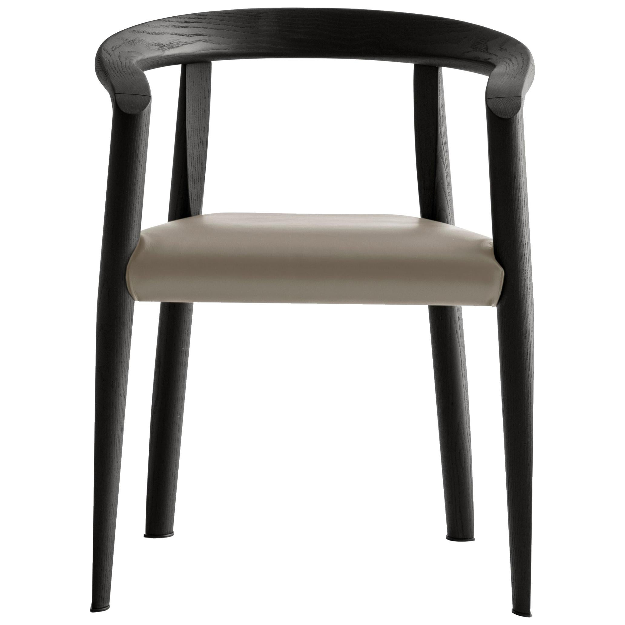Molteni&C Miss Leather Semi-Upholstered Chair in Black Wood by Tobia Scarpa