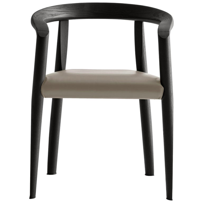 For Sale: Beige (L209_Taupe) Molteni&C Miss Leather Semi-Upholstered Chair in Black Wood by Tobia Scarpa