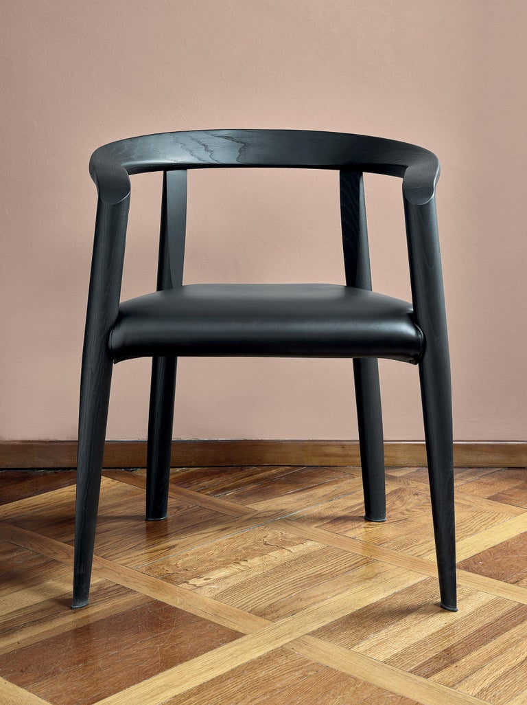 Italian Molteni&C Miss Leather Upholstered Dining Chair in Black Ashwood by Tobia Scarp For Sale
