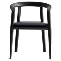 Molteni&C Miss Leather Upholstered Dining Chair in Black Ashwood by Tobia Scarp