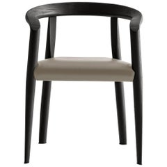 Molteni&C Miss Semi-Upholstered Black Wood Taupe Leather Chair by Tobia Scarpa