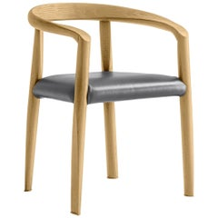 Molteni&C Miss Upholstered Grey Leather Dining Chair in Natural Ash Wood, Tobia