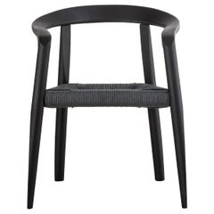 Molteni&C Miss Woven Black Ash Wood Dining Chair in Grey Papercord, Tobia Scarpa