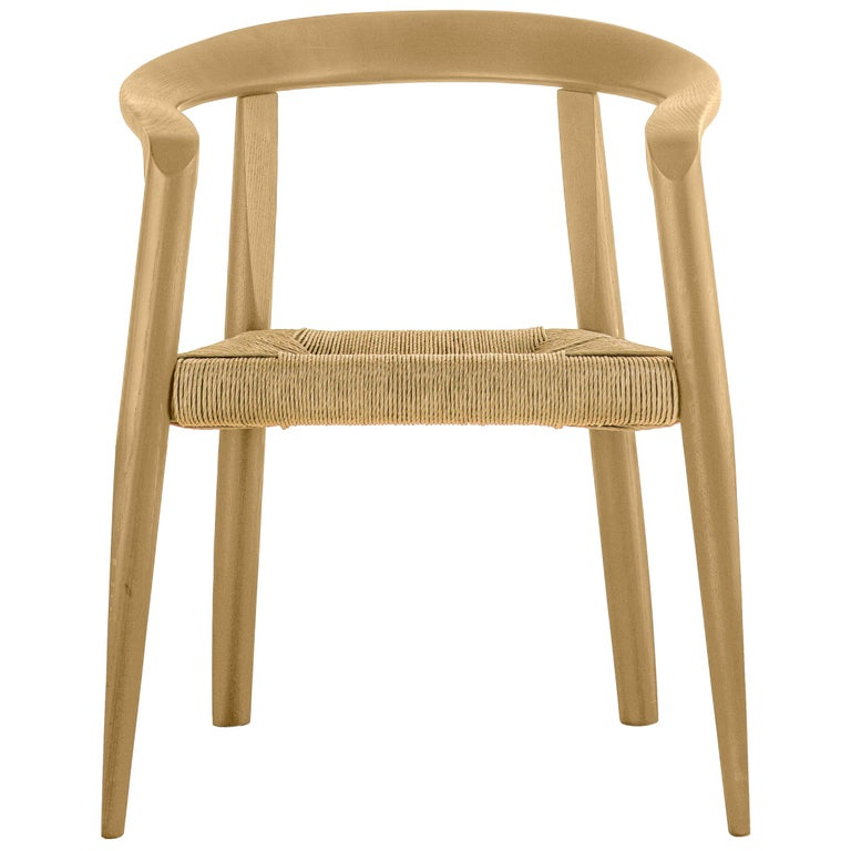 For Sale: Beige (EC_ecru) Molteni&C Miss Woven Dining Chair in Natural Ashwood by Tobia Scarpa