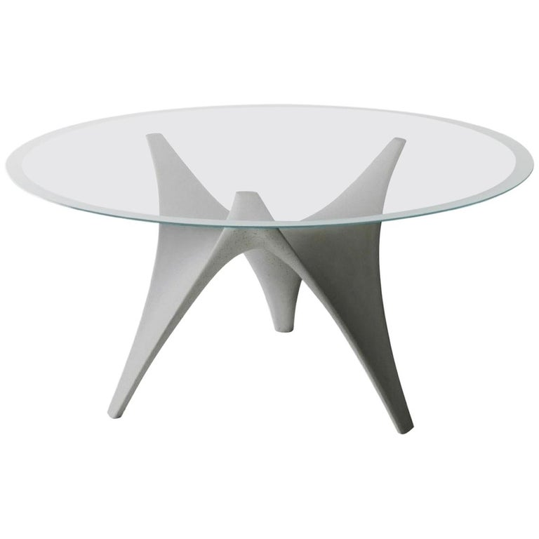 Molteni&C Round Arc Dining Table with Glass Top and Cement Base For Sale