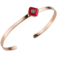 Molu Red Enameled Brown Diamond Gold Bangle Bracelet