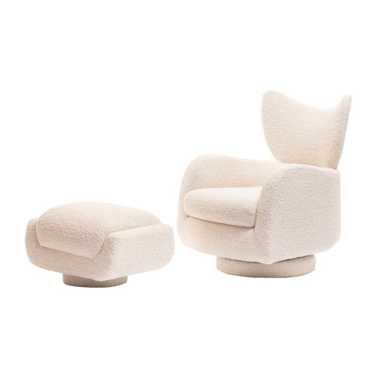 Mom & Pop Pair Vladimir Kagan Wingback Swivel Chairs & Ottomans in Ivory Bouclé For Sale 10