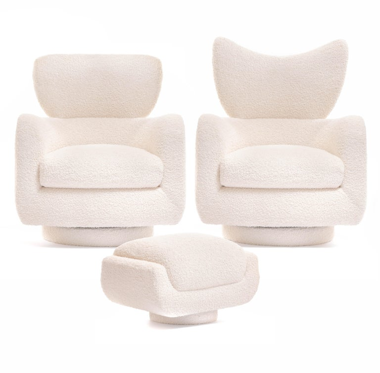If you want to be the envy of your friends and fellow designers, here's how you do it. Our shop is very excited to offer a rare pair of Mom & Pop Vladimir Kagan swivel wingback chairs with matching ottomans, freshly and expertly reupholstered in