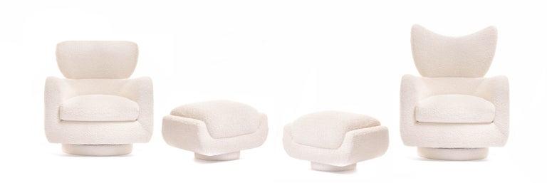 Post-Modern Mom & Pop Pair Vladimir Kagan Wingback Swivel Chairs & Ottomans in Ivory Bouclé For Sale
