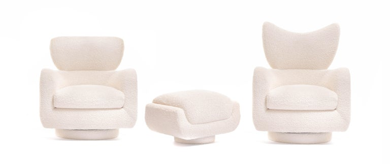 American Mom & Pop Pair Vladimir Kagan Wingback Swivel Chairs & Ottomans in Ivory Bouclé For Sale