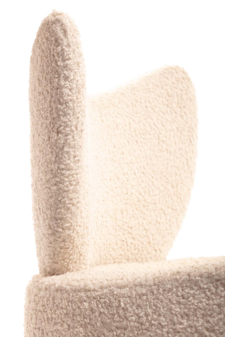 Mom & Pop Pair Vladimir Kagan Wingback Swivel Chairs & Ottomans in Ivory Bouclé For Sale 2