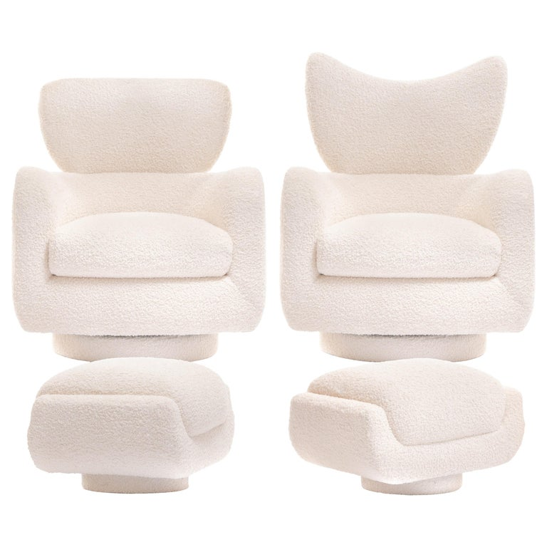 Mom & Pop Pair Vladimir Kagan Wingback Swivel Chairs & Ottomans in Ivory Bouclé For Sale