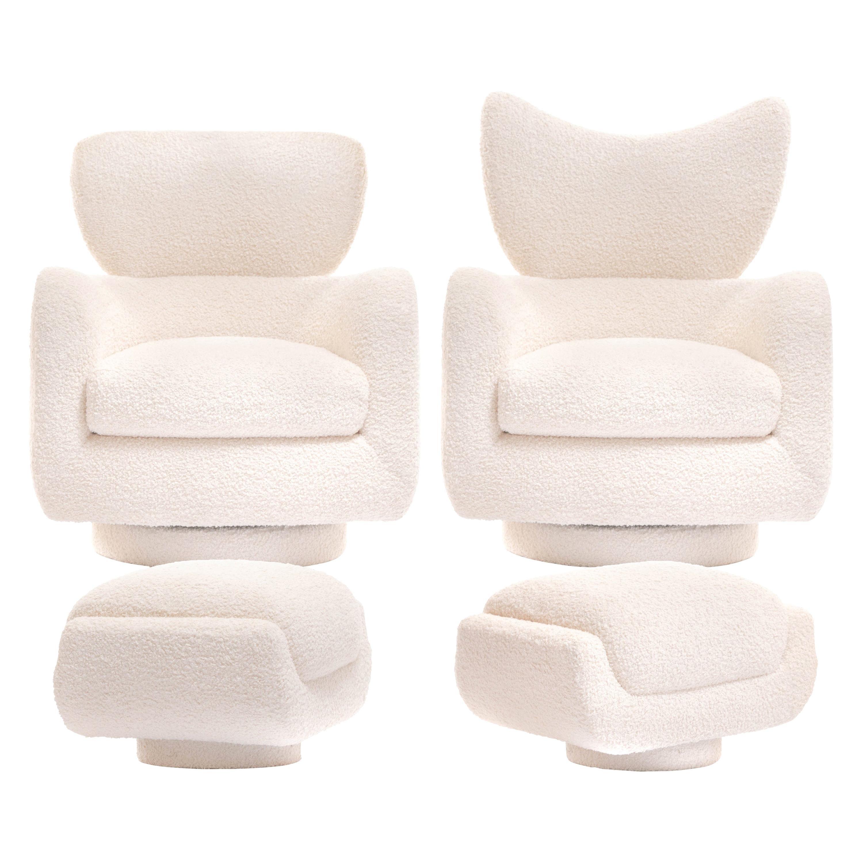 Mom & Pop Pair Vladimir Kagan Wingback Swivel Chairs & Ottomans in Ivory Bouclé