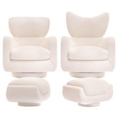 Mom & Pop Pair Vladimir Kagan Wingback Swivel Chairs & Ottomans in Ivory Bouclé