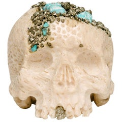 Momento Mori Carved Natural Coral Skull with Pyrite and Turquoise