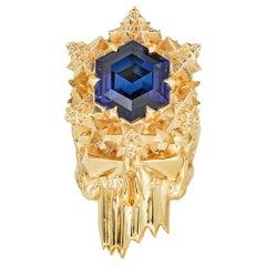 Momento Mori Sapphire Gold Skull Ring